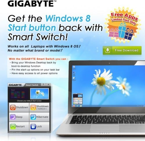 GIGABYTE Let's Windows 8 Boot to Desktop With New App
