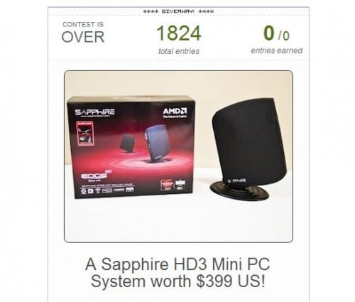 So Who Won The Sapphire HD3 Mini PC System from NCIX PC and Futurelooks?
